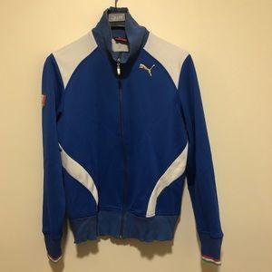 Puma Italy Soccer Track Jacket Vintage Sz M Blue